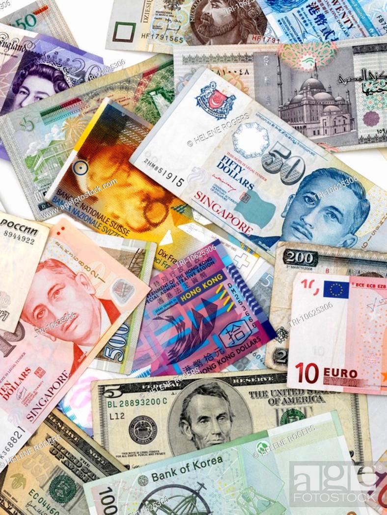 Stock Photo Mixed Currency Banknotes Euros Ringgit Won Usa Dollars Singapore Hong Kong Swiss Francs Kenyan Shillings Rubles