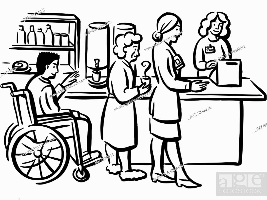 Stock Photo: People queuing at a hospital cafeteria.