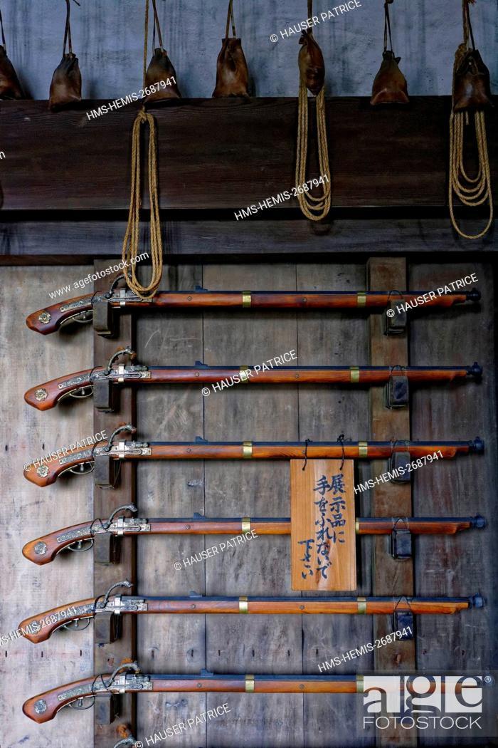 Stock Photo: Japan, Honshu island, Kinki District, Himeji, Himeji Castle (Shirasagi), listed as World Heritage by UNESCO, old guns.