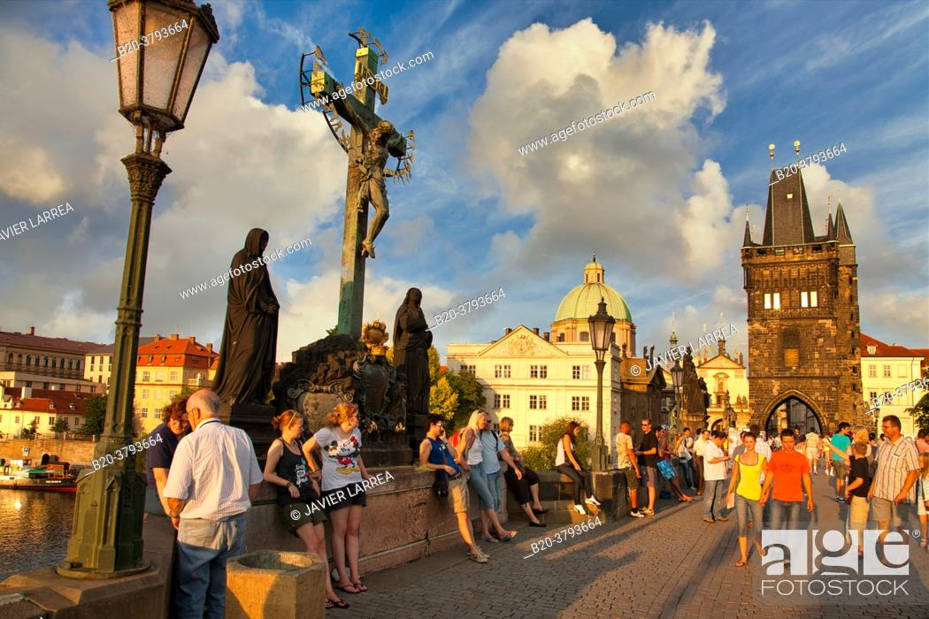 Stock Photo: Charles Bridge, Moldau river, Prague, Czech Republic, Europe.