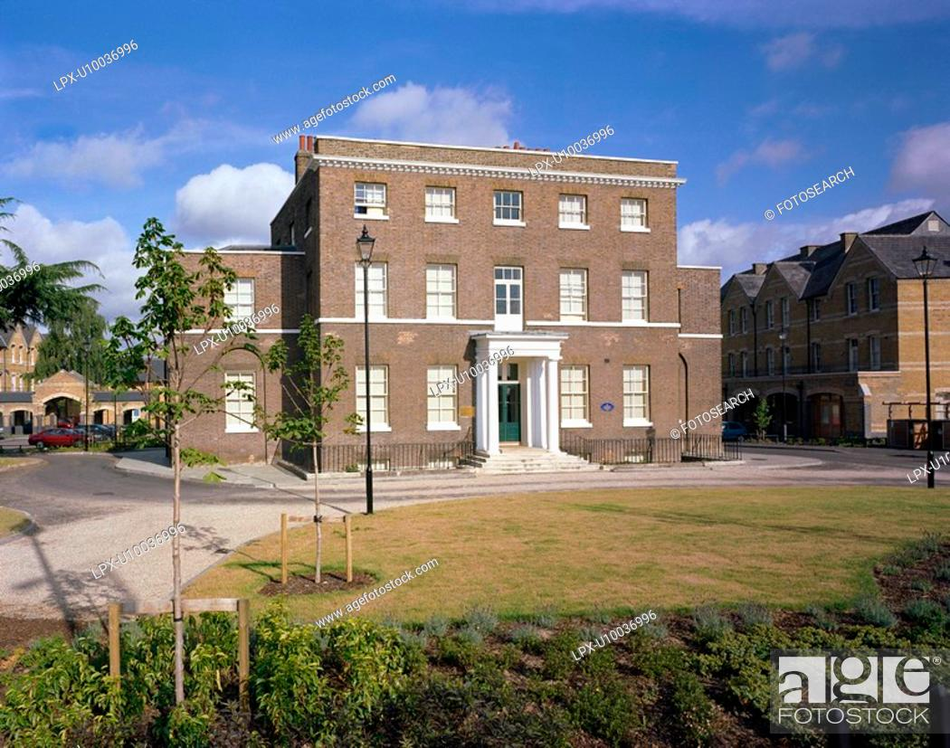 Stock Photo: Re-development of an old derelict Victorian hospital into private houses in North London.