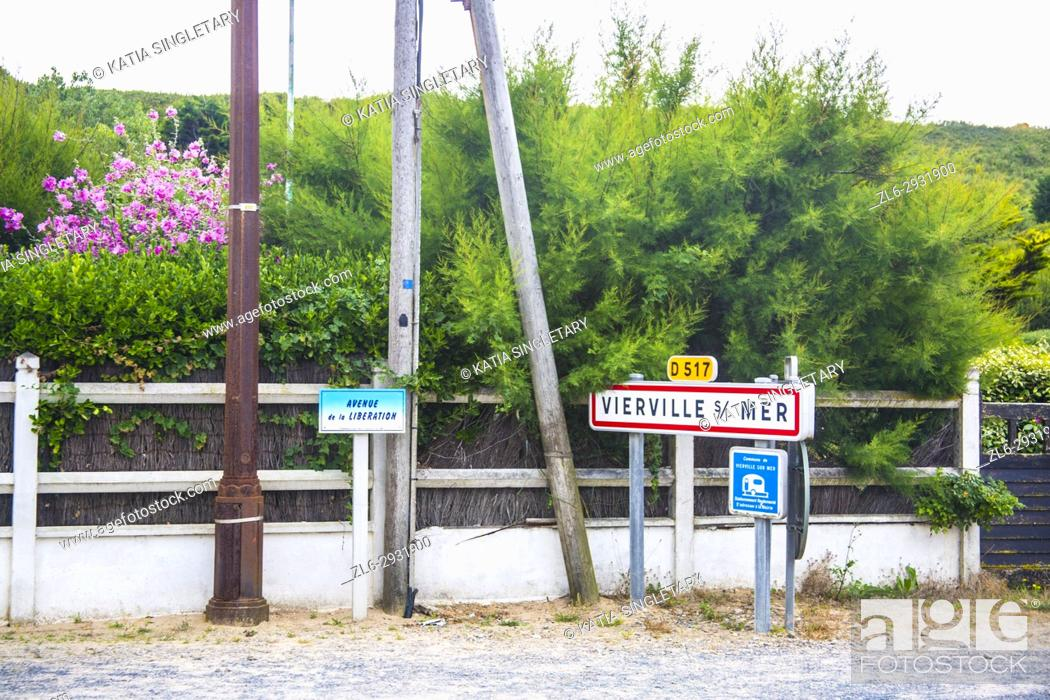 Stock Photo: The very famous sign of Vierville sur mer, known in the world as Ohamha beach where D-Day June 1944 took place In Normandy France.
