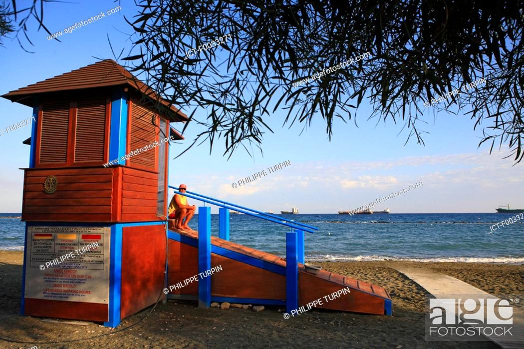 Stock Photo: Cyprus, Limassol, cabin of the life-guards.