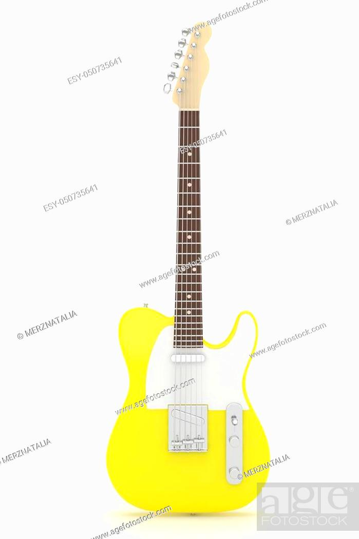 Stock Photo: Isolated yellow electric guitar on white background. Musical instrument for rock, blues, metal songs. 3D rendering.