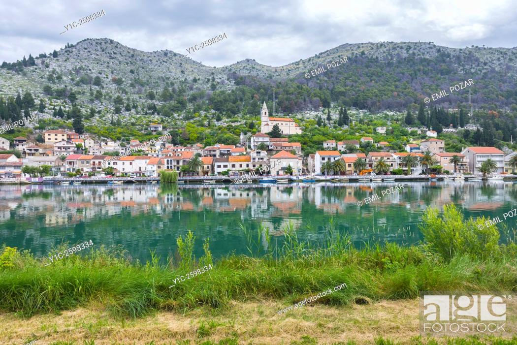 Stock Photo: Perast old town from across Kotor Bay, Montenegro.