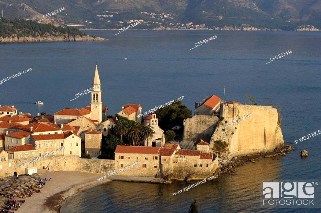 Stock Photo: Budva, old town peninsula, Cathedral of St John, Bell tower, fortification walls, Adriatic coast, Montenegro.