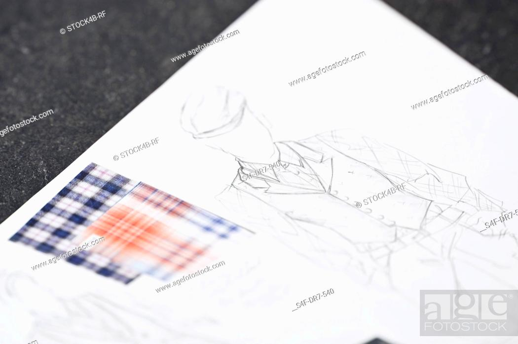 Stock Photo: Fashion draft and fabric swatch.