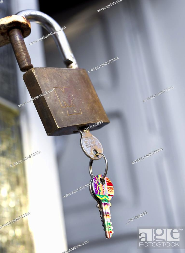 Stock Photo: Padlock with keys. Castellon, Spain.