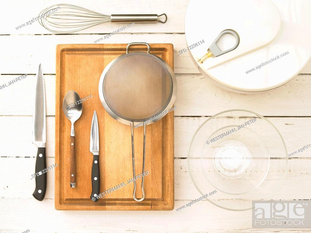 Stock Photo: Kitchen utensils for making salad.