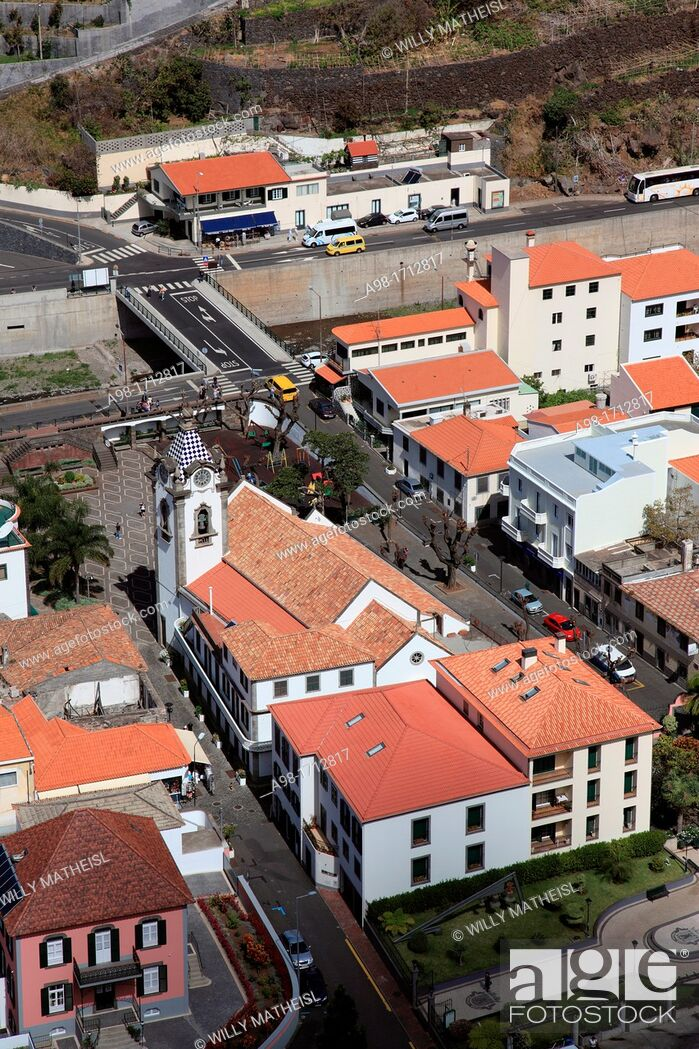Stock Photo: View from Above at Coastal Town, Ribeira Brava, Madeira, Portugal.