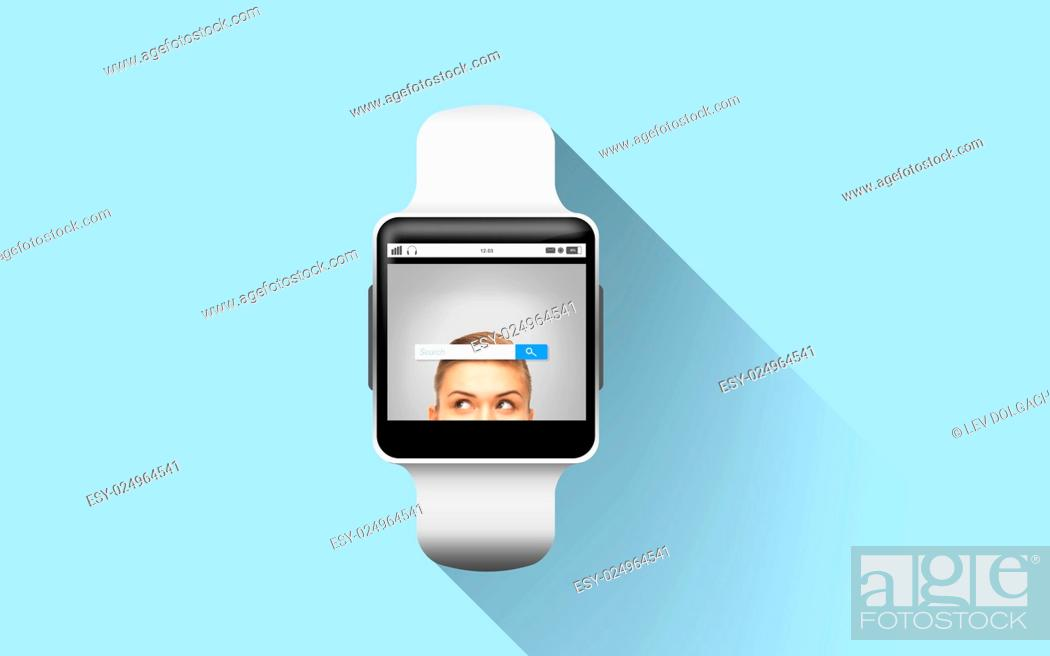 Stock Photo: modern technology, object and media concept - close up of black smart watch with internet browser search bar on screen over blue background.