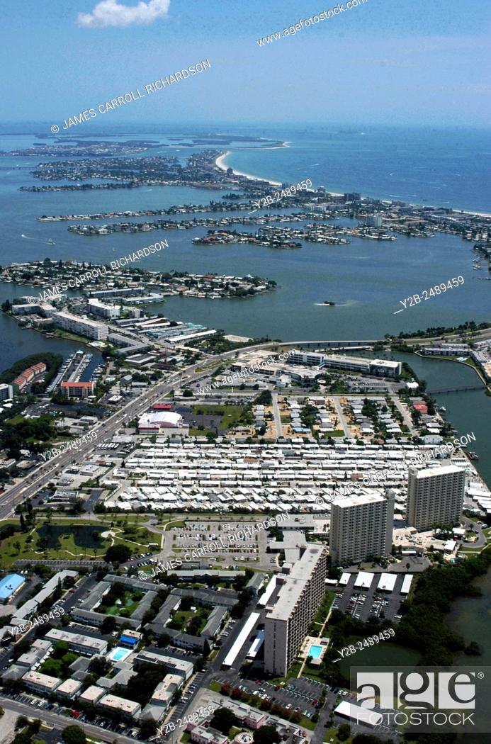 Stock Photo: Aerial of South Pasadena area of St Petersburg near Tampa Florida.