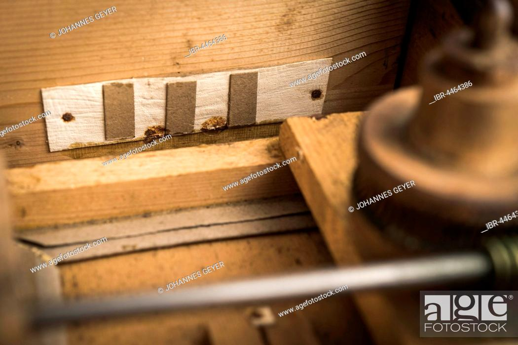 Stock Photo: Barrel organ, bellows, plywood, vents, covered with leather pieces and strips of cardboard, valves for suction and exhaustion of air, Grassau, Upper Bavaria.