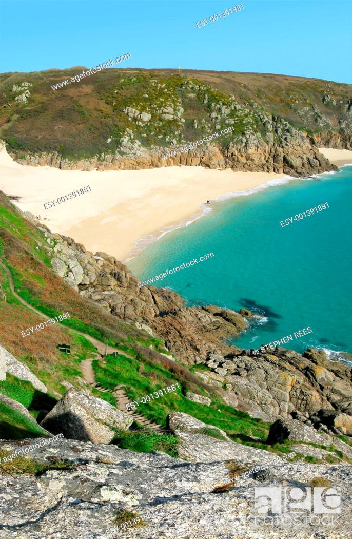 Stock Photo: Scenic view from the cliffs above Porthcurno beach, Cornwall UK.