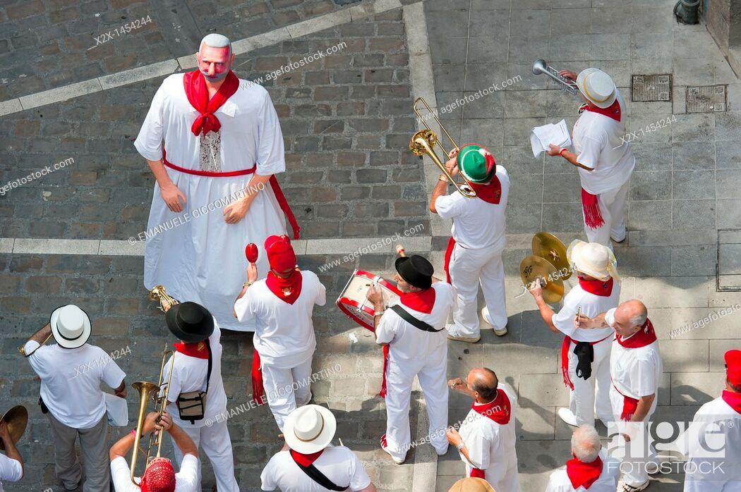 Stock Photo: Street music band parade, San Fermin street-partying, Pamplona, Navarra Navarre, Spain, Europe.