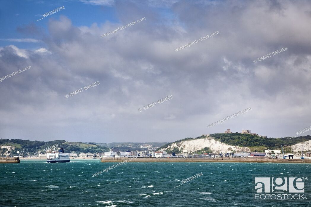 Stock Photo: White Cliffs of Dover and Port Entrance, England.