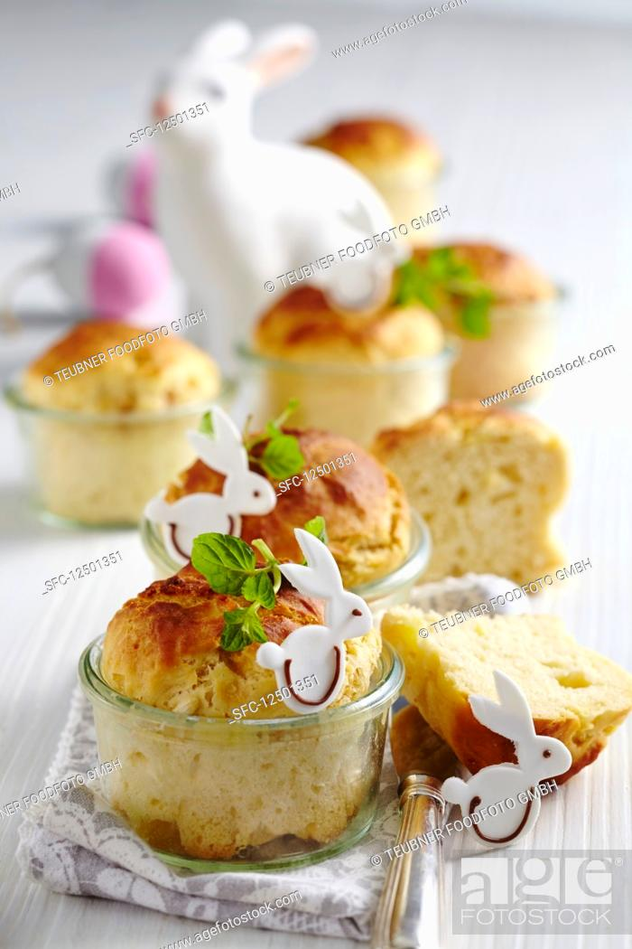 Stock Photo: Easter bread made in jars with apples and fondant Easter bunnies.