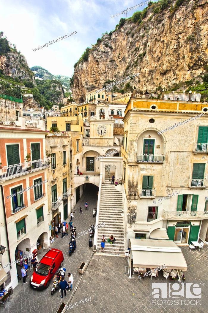 Imagen: Piazza Umberto I square, Atrani, Amalfi Coast, province of Salerno, Campania Region, Italy, Europe.