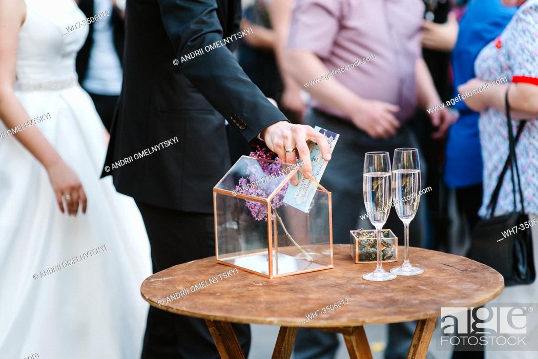 Stock Photo: wedding glasses for wine and champagne from clear crystal.