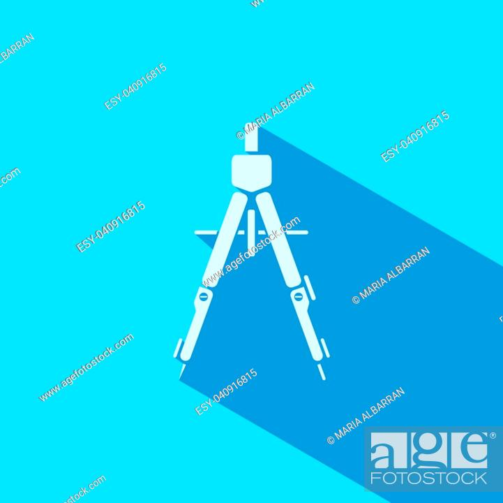 Stock Vector: Drawing compass icon with shade on blue background.