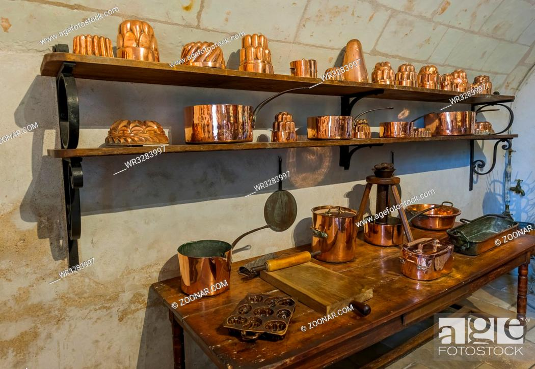 Stock Photo: Kitchen in Chenonceau castle - Loire Valley - France - travel and architecture background.