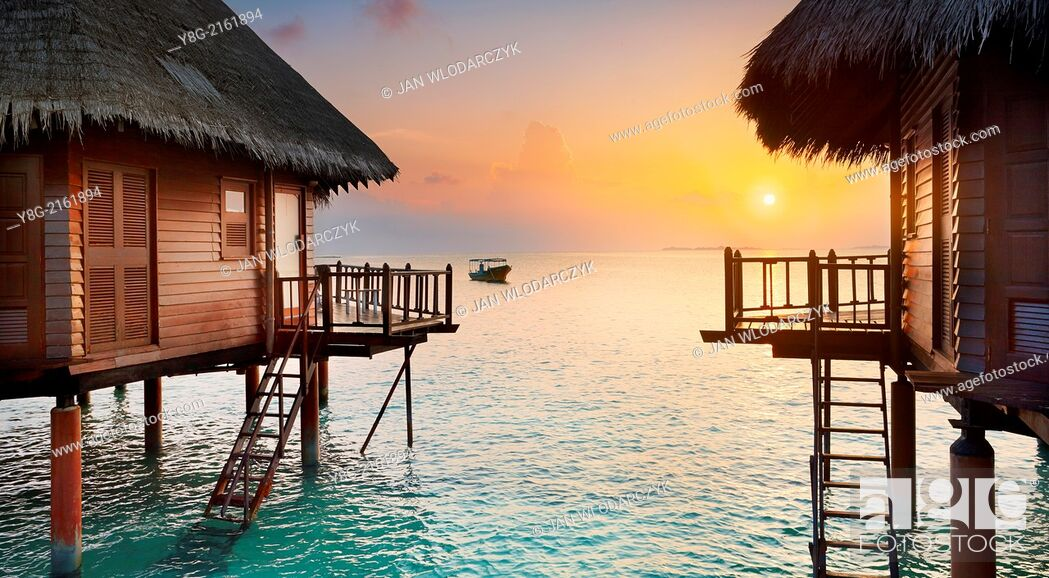 Stock Photo: Sunset at Maldives, Ari Atol, Indian Ocean.
