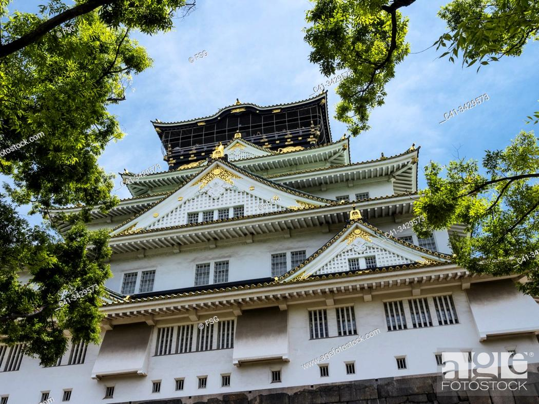 Imagen: Exterior view of the japanese castle in ChŠ«Š. -ku, Osaka, Japan.