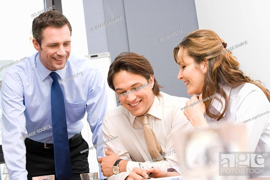 Stock Photo: Colleagues smiling.