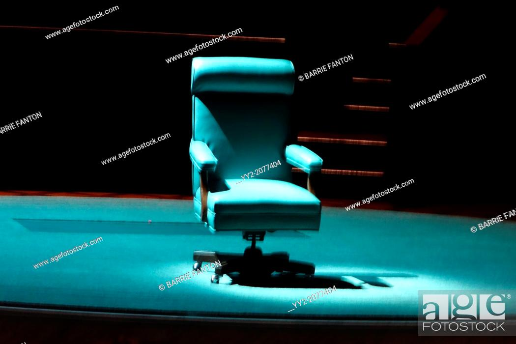 Stock Photo: Chair on Stage, Cambridge, Massachusetts, United States.