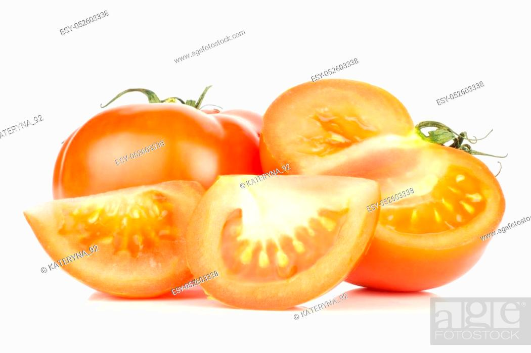 Photo de stock: Sliced red tomato set one whole one half and two slices isolated on white background.