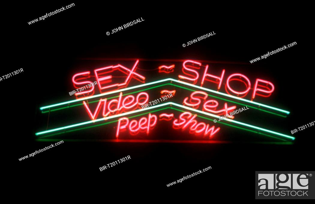 Stock Photo Sex Shop Video Sex And Peep Show Neon Sign