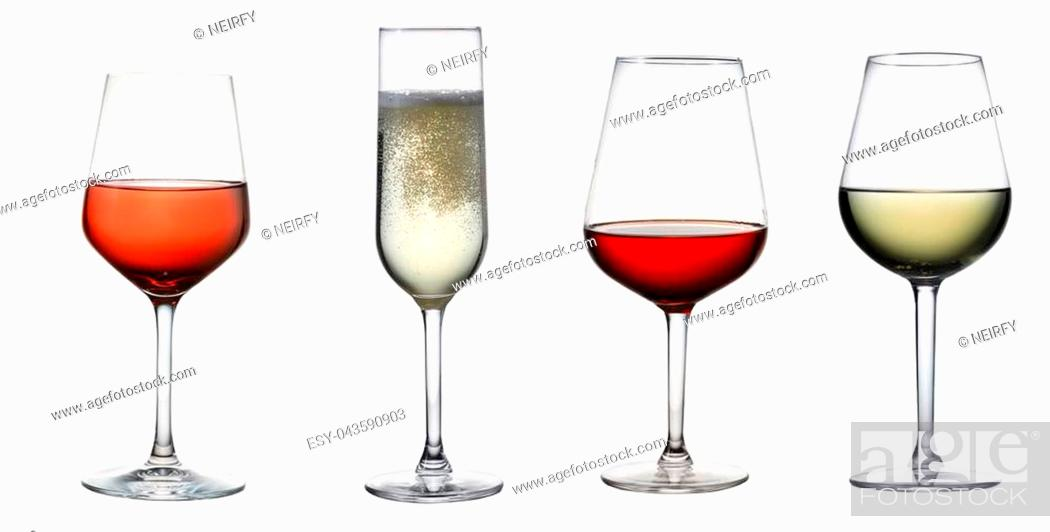 Stock Photo: High glass with still white wine, sparkling wine and red and rose wine isolated on white background.