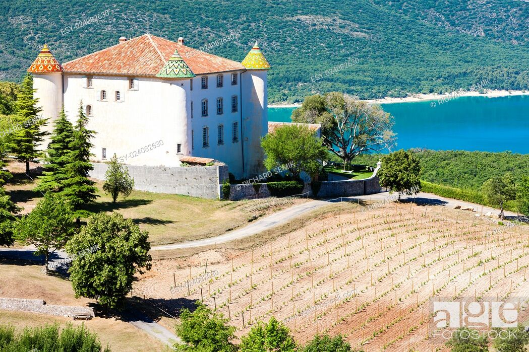 Stock Photo: chateau in Aiguines and St Croix Lake at background, Var Department, Provence, France.
