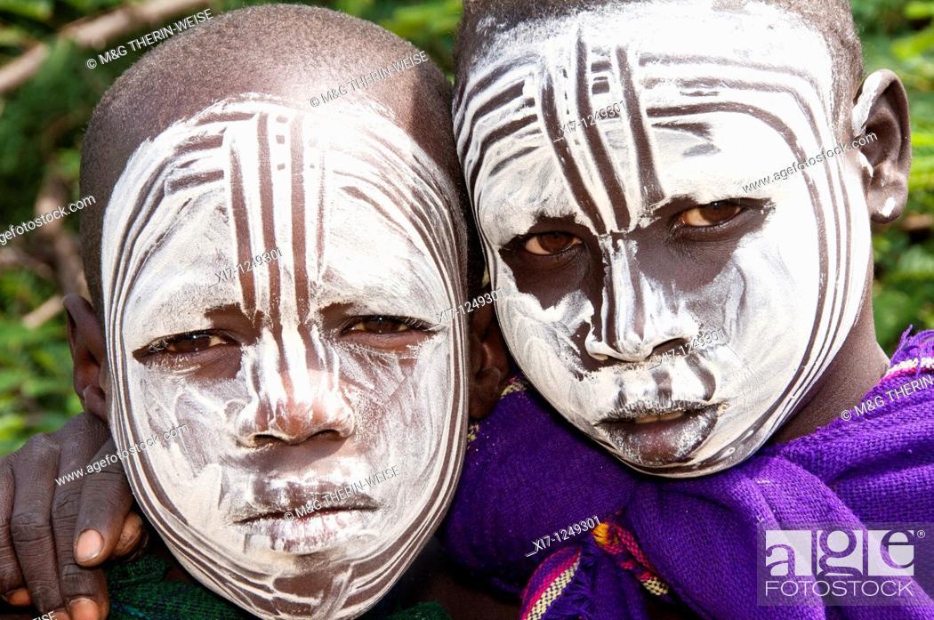 Stock Photo: Two Surma boys with body paintings, Kibish, Omo River Valley, Ethiopia.