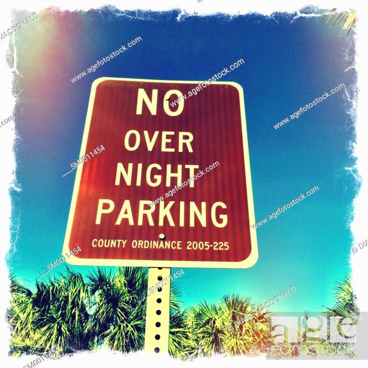 Stock Photo: No Overnight Parking Sign at the beach, Vilano Beach, Florida, USA.