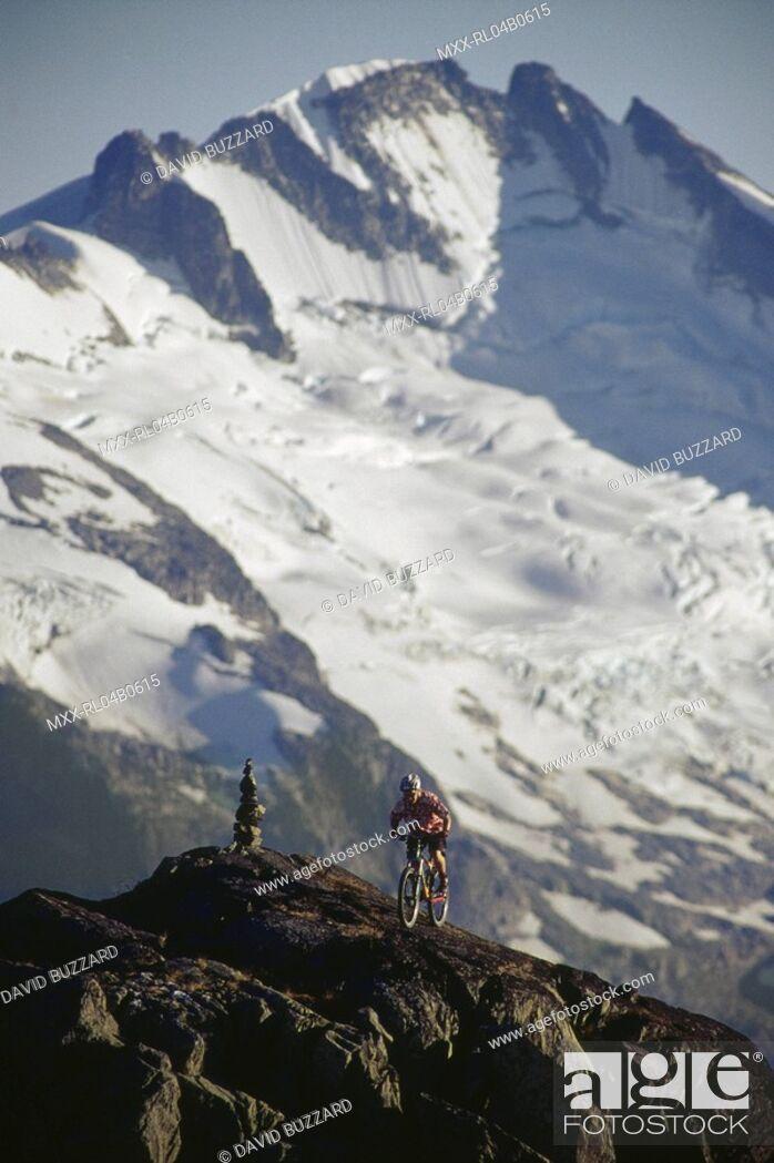 Stock Photo: Mountain biking, Whistler Mountain, BC.