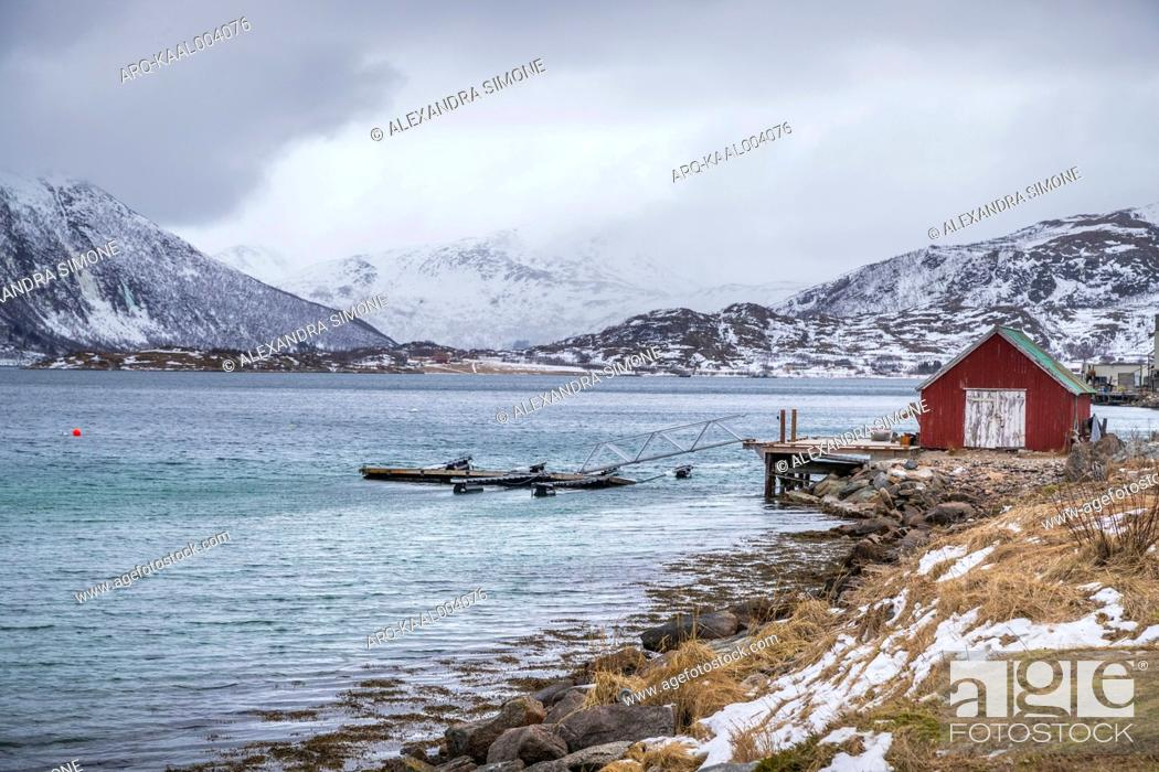 Stock Photo: View of shore in winter, Tromso, Norway.