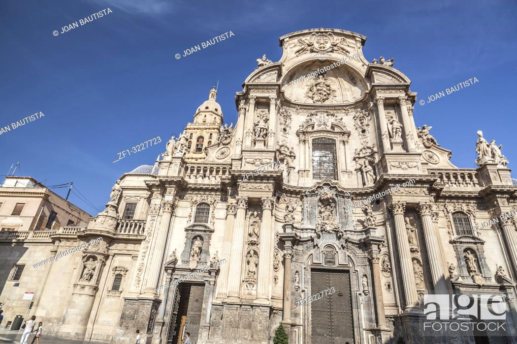 Stock Photo: Cathedral Church of Saint Mary in Murcia, Spain.