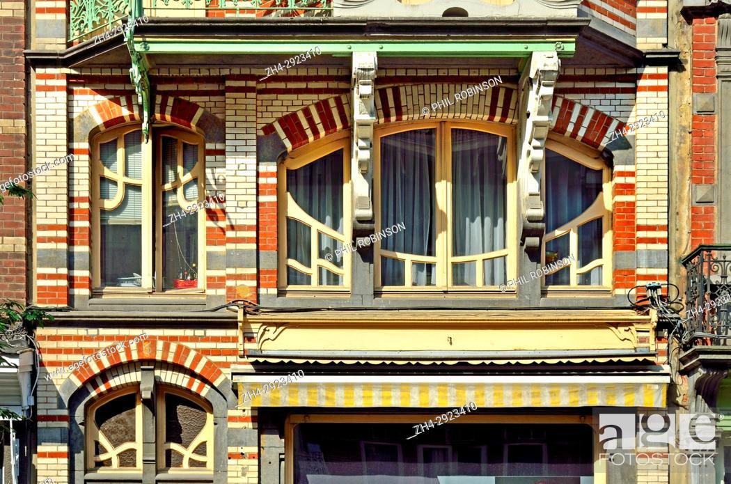 Stock Photo: Brussels, Belgium. Ancienne Maison De Beck, 9 Avenue Paul Dejaer. Art nouveau building (Gustave Strauven, 1902).