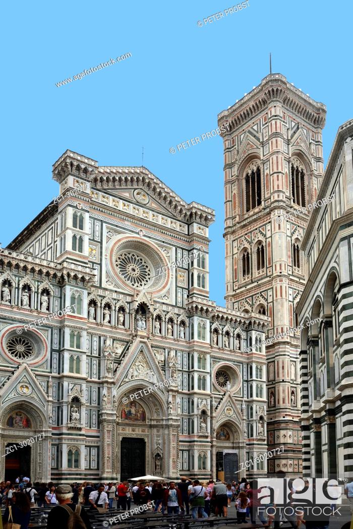 Stock Photo: Tourists on the Piazza del duomo in front of the Cathedral of Santa Maria del Fiore with Giottos campanile in Florence - Italy.