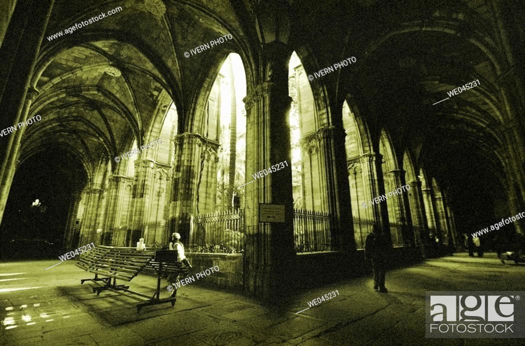 Stock Photo: Cloister of cathedral, Barcelona. Catalonia, Spain.