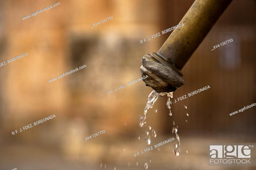 Stock Photo: Fountain close-up at Burgo de Osma popular Village located at Soria province  Castile-Leon  Spain  Europe.