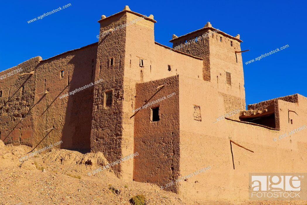 Stock Photo: Old Kasbah, Skoura, Ouarzazate Region, Morocco, Africa.