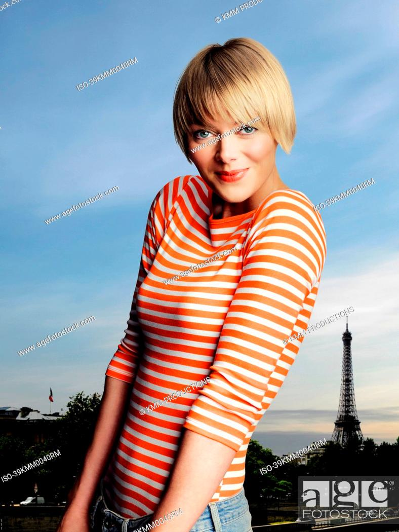 Stock Photo: Woman smiling outdoors in Paris.