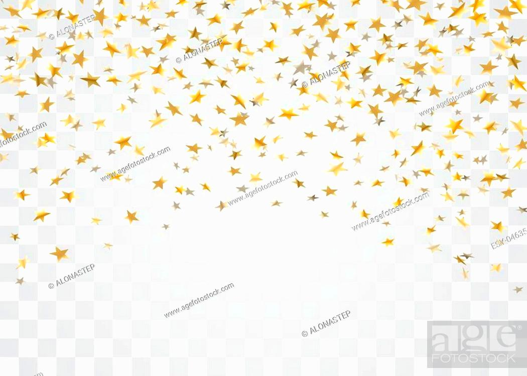 Stock Vector: Gold stars falling confetti isolated on white transparent background. Golden explosion confetti. Abstract decoration. Stars for Christmas festive party.