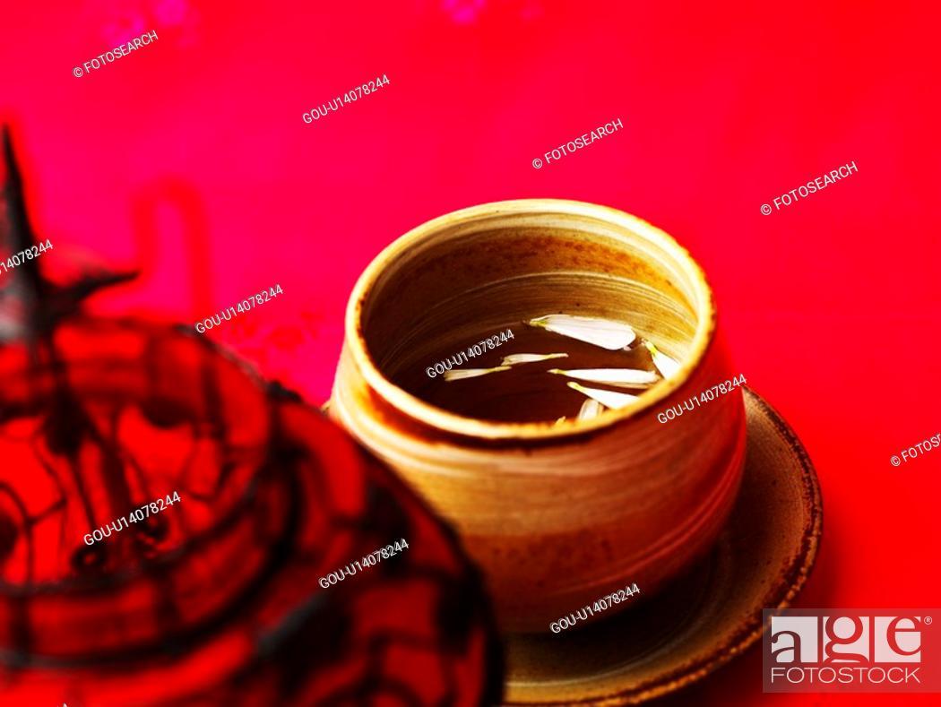 Stock Photo: cuisine, ceramic cup, food, lamp, petal, tea-things.