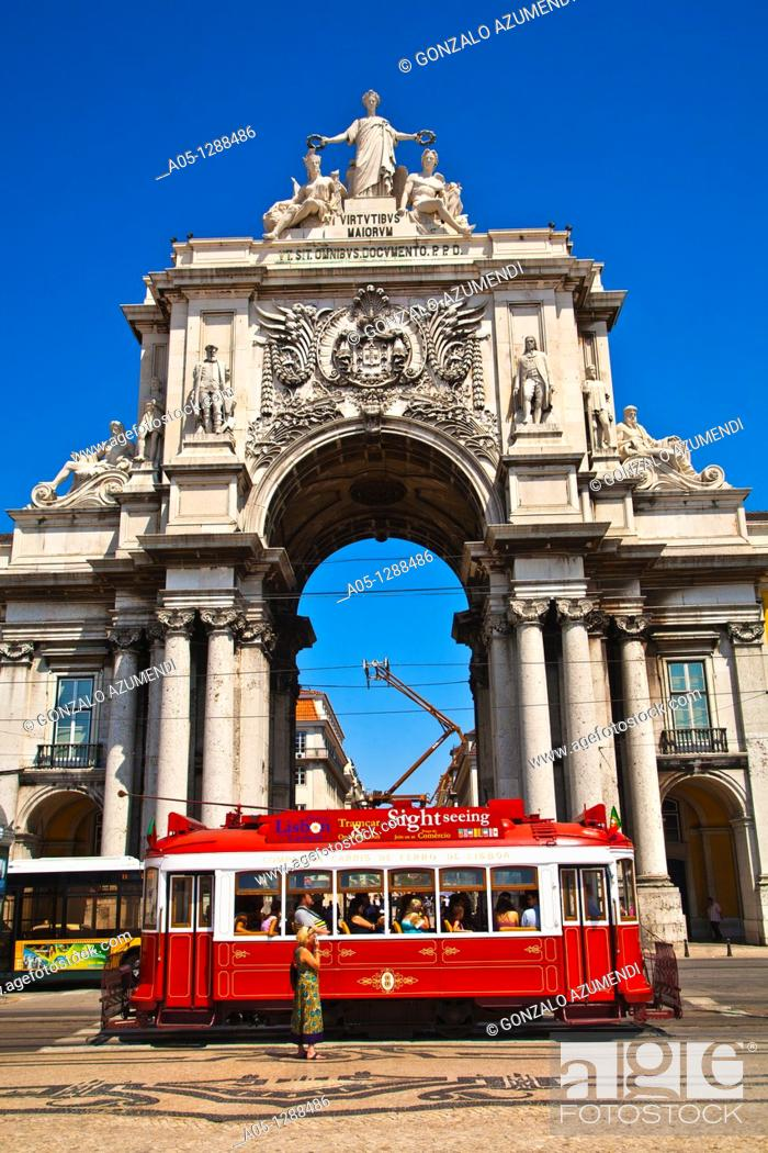 Stock Photo: Electric tramway, Rua Augusta, Triumphal Arch of Praça do Comércio (Commerce square), Lisbon, Portugal.