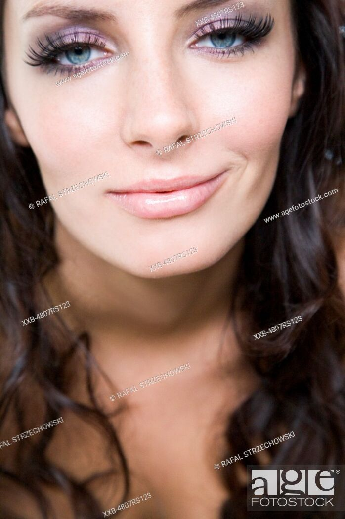 Stock Photo: woman with fake lashes.