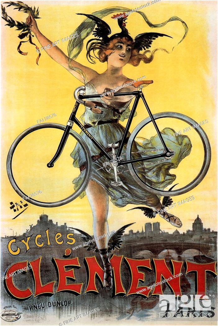Stock Photo: Cycles Clément by Paléologue (Paleologu), Jean de (1855-1942)/Colour lithograph/Art Nouveau/1898/Romania/Private Collection/Poster and Graphic.