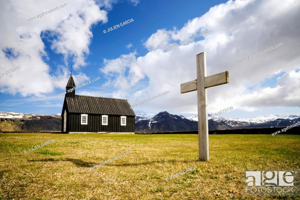 Stock Photo: Iceland, Vesturland region, Snaefellsnes Peninsula, black church in Budir.
